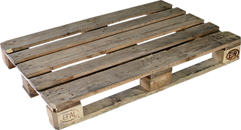 EUR pallet, grey, used, wood–pressed stump